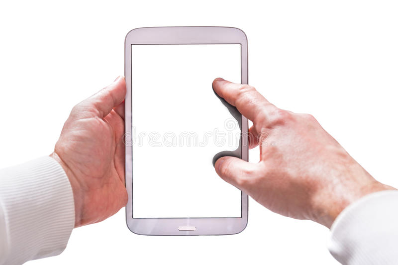 Blank touchpad in hands stock images