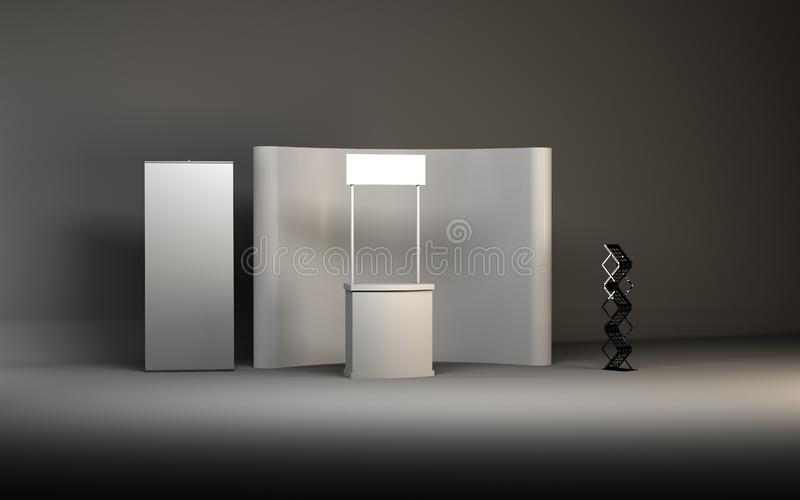 Blank trade show booth for designers 3D rendering. Set vector illustration
