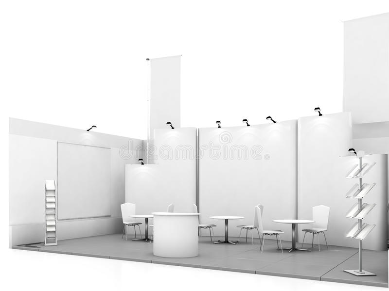 Blank trade show booth mock up. 3d illustration stock photo