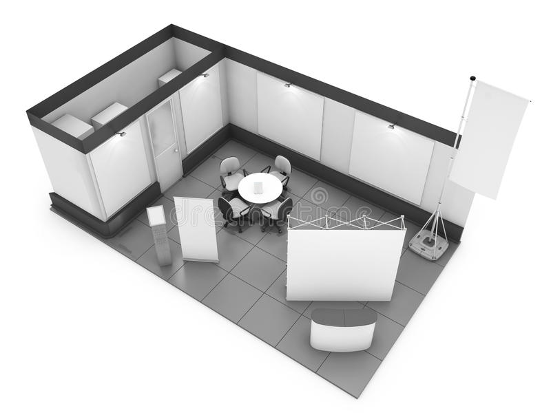 Blank trade show booth mock up. 3D rendering. Blank trade show booth mock up. 3D illustration royalty free illustration