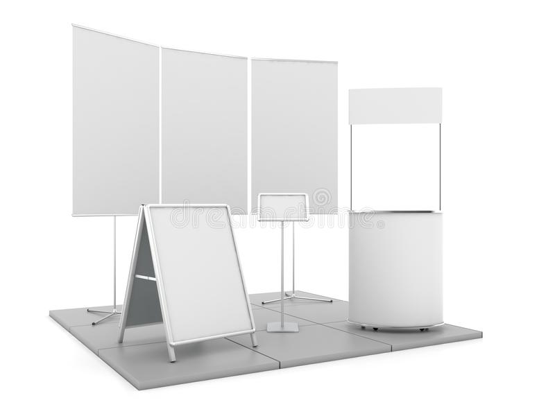 Blank trade show booth mock up. 3D rendering. Blank trade show booth mock up. 3D illustration vector illustration
