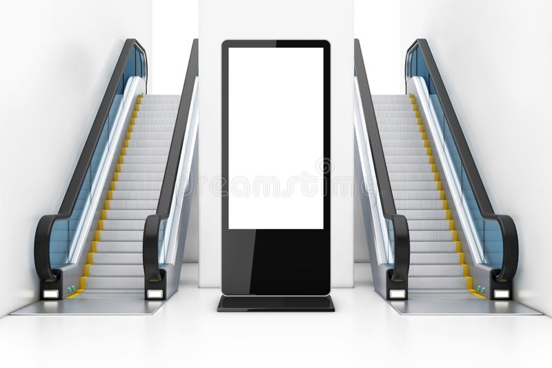Blank Trade Show LCD Screen Stand as Template for Your Design between Modern Luxury Escalators on Indoor Building Shopping Center stock illustration