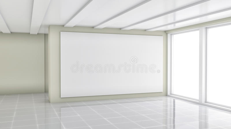 Blank trade showroom with white poster. 3D rendering stock photos
