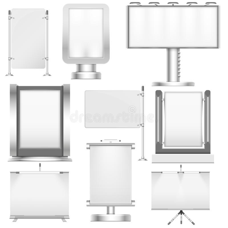 Blank trade stand displays and billboards isolated on white vector mockups set stock illustration