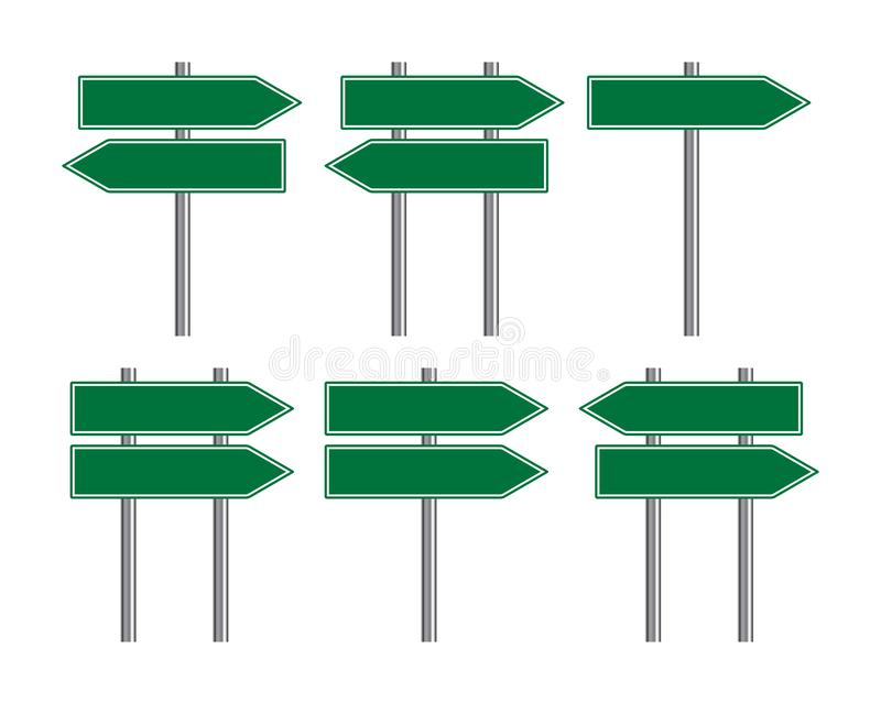 Blank traffic road sign set, direction empty street signs, green arrow signposts isolated on white background, vector illustration. Blank traffic road sign set stock illustration