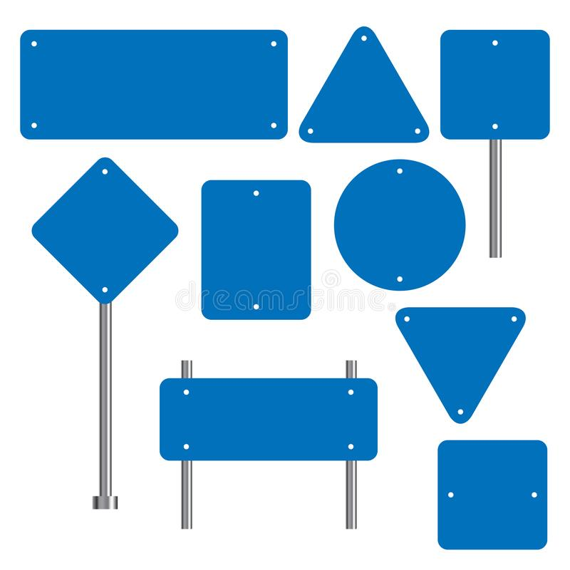 Blank traffic road sign set, empty street signs, blue isolated on white background, vector illustration. Blank traffic road sign set, empty street signs royalty free illustration