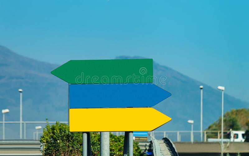 Blank traffic signs on the road. In Italy royalty free stock photography