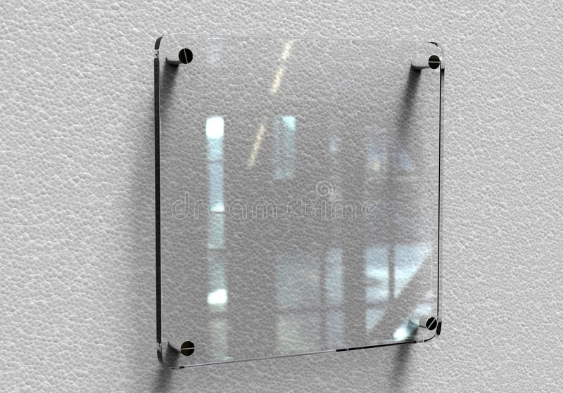 Blank transparent glass Interior Office Corporate Signage plate mockup, 3d rendering. Office name plate mock up on the wall. Signa. Blank transparent glass stock illustration