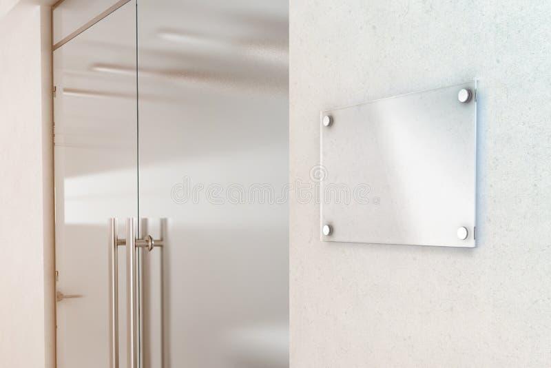 Blank transparent glass sign plate design mockup. 3d rendering. Nameplate mock up on the wall near office entrance interior. Signage panel door number template stock illustration