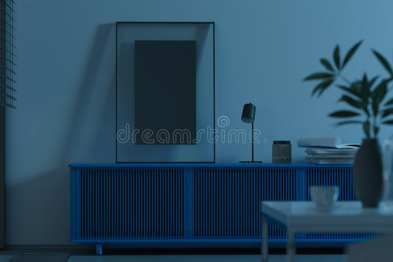 Blank transparent photo frame with blank poster on blue cupboard, 3d rendering. stock photos