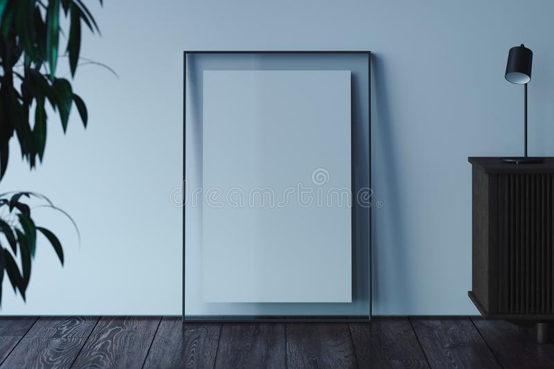 Blank transparent photo frame with blank poster on wooden floor next to light walls, 3d rendering. royalty free illustration