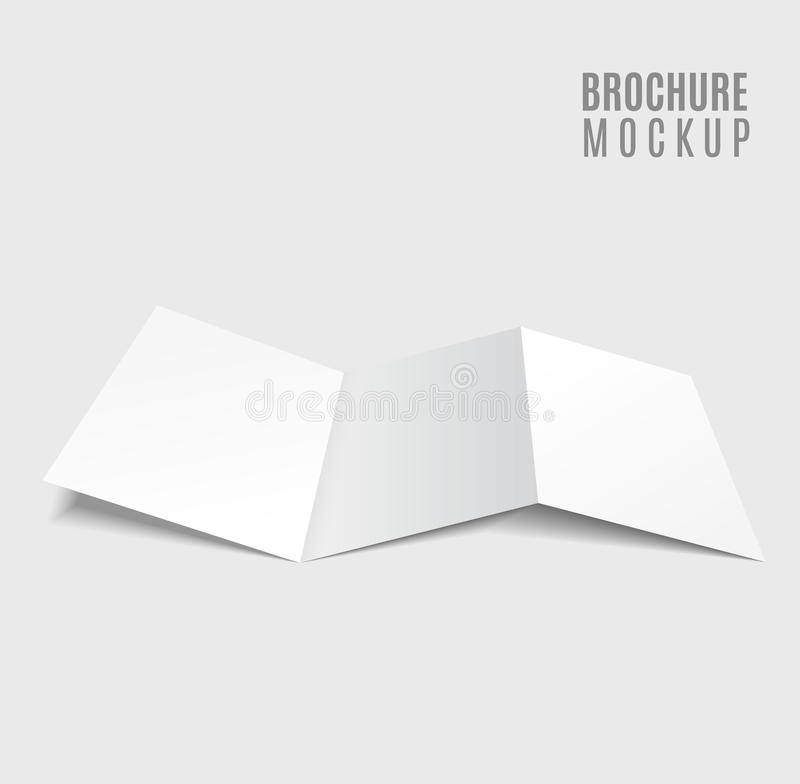 Blank tri-fold brochure. Design on grey stock illustration