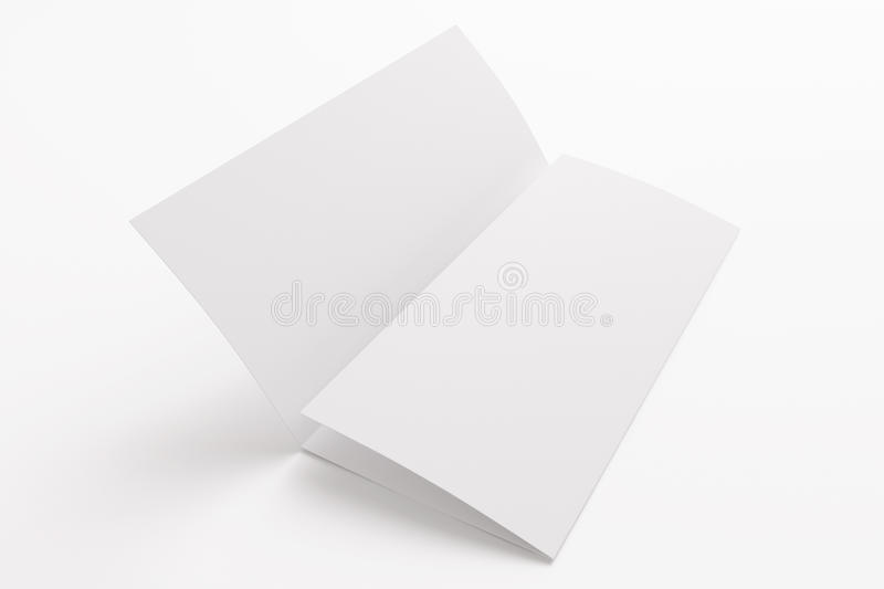 Blank tri fold brochure isolated on white stock photography