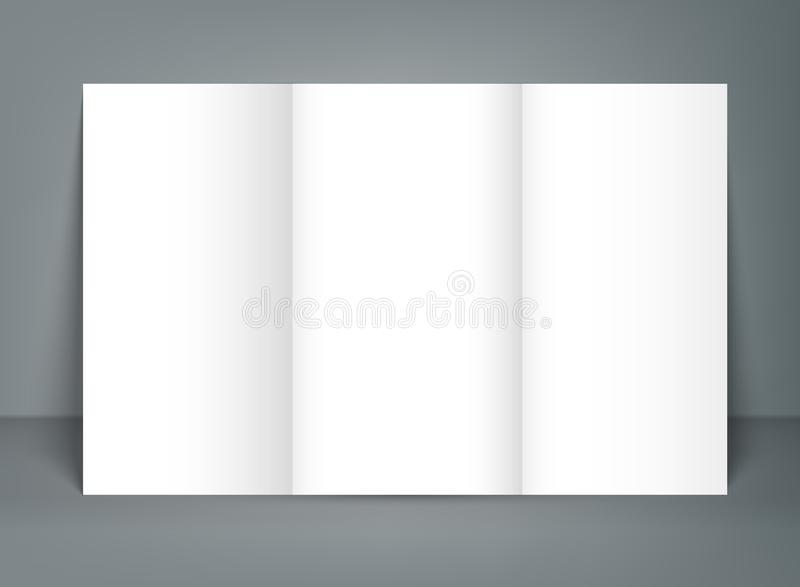 Blank tri fold brochure mock up portrait cover. Isolated vector illustration
