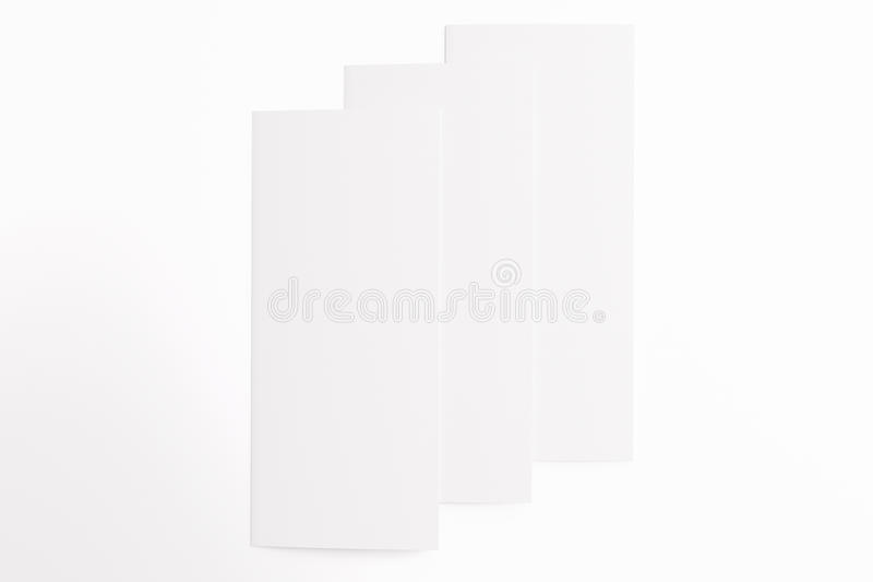 3 Blank tri fold brochures isolated on white. S Blank tri fold brochures isolated on white to replace your design or message royalty free stock photo