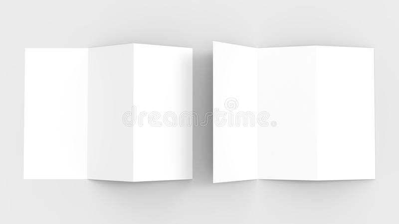A4. Blank trifold paper brochure mock-up on soft gray background stock illustration