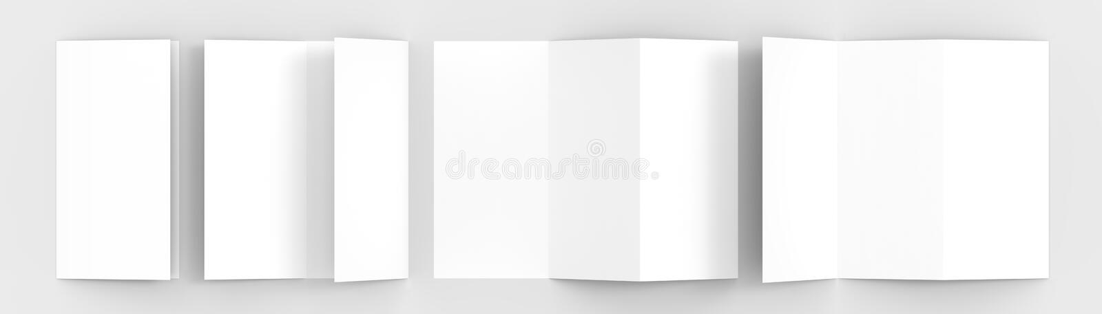 A4. Blank trifold paper brochure mock-up on soft gray background. With soft shadows and highlights. 3D illustrating royalty free illustration
