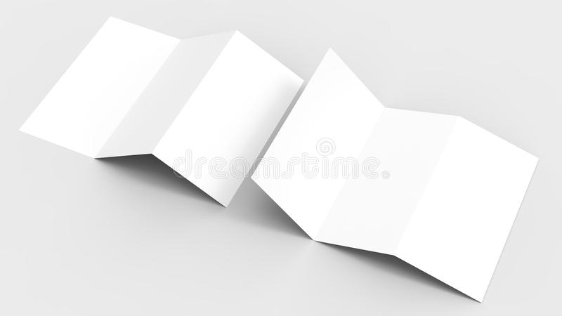 A4. Blank trifold paper brochure mock-up on soft gray background. With soft shadows and highlights. 3D illustrating stock illustration