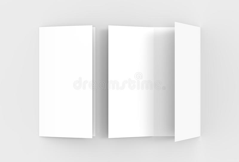 A4. Blank trifold paper brochure mock-up on soft gray background. With soft shadows and highlights. 3D illustrating vector illustration
