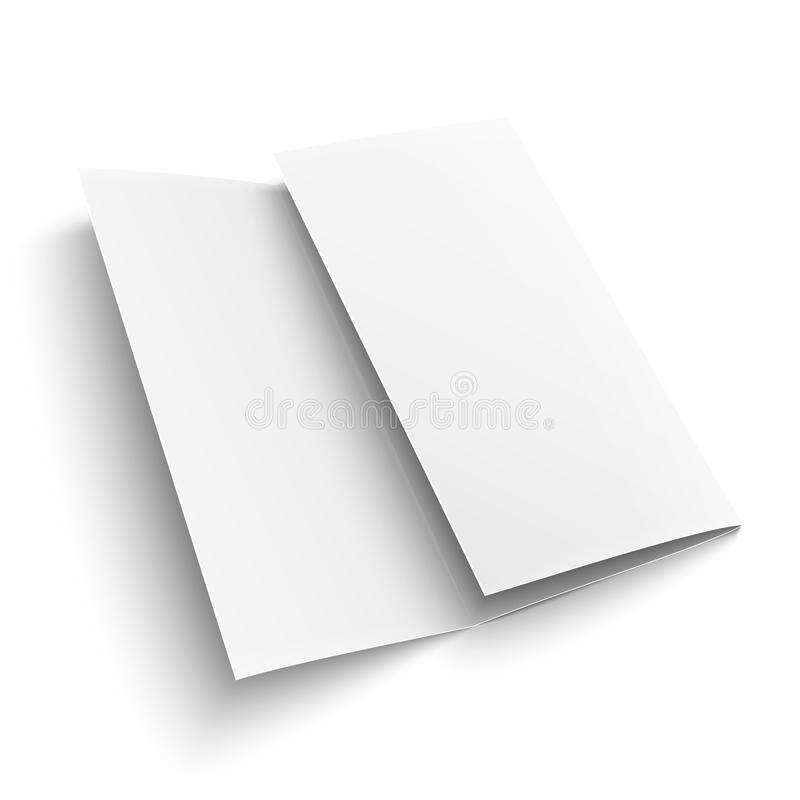 Blank trifold paper brochure. On white background with soft shadows. Z-folded. Vector illustration. EPS10 stock illustration