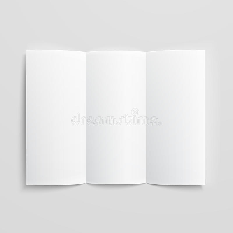 Blank trifold paper brochure. White stationery: blank trifold paper brochure on gray background with soft shadows and highlights. Vector illustration. EPS10 royalty free illustration