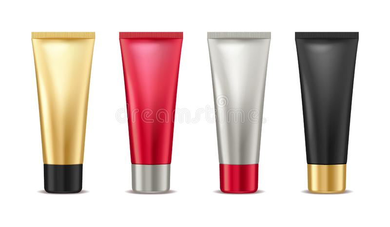 Blank mock up gold, red, silver and black tube for cosmetic product set isolated on white background, package container stock illustration