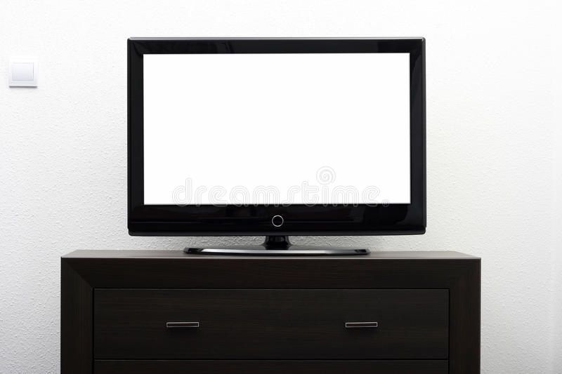 Download Blank Tv Screen On Brown Commode Stock Photo - Image: 26295554