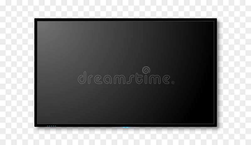 Blank tv screen vector design. Digital wide television concept. Vector flat led or lcd screen mockup royalty free illustration