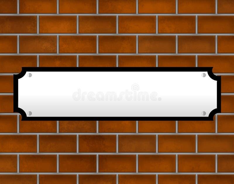 blank vägg för tegelstenteckengata royaltyfri illustrationer