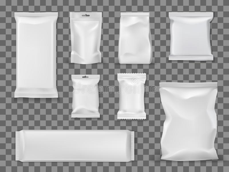 Blank vacuum packages, food snacks void packets. Food and snacks empty vacuum packages isolated on transparent. Vector empty packs, containers mockups to storage vector illustration