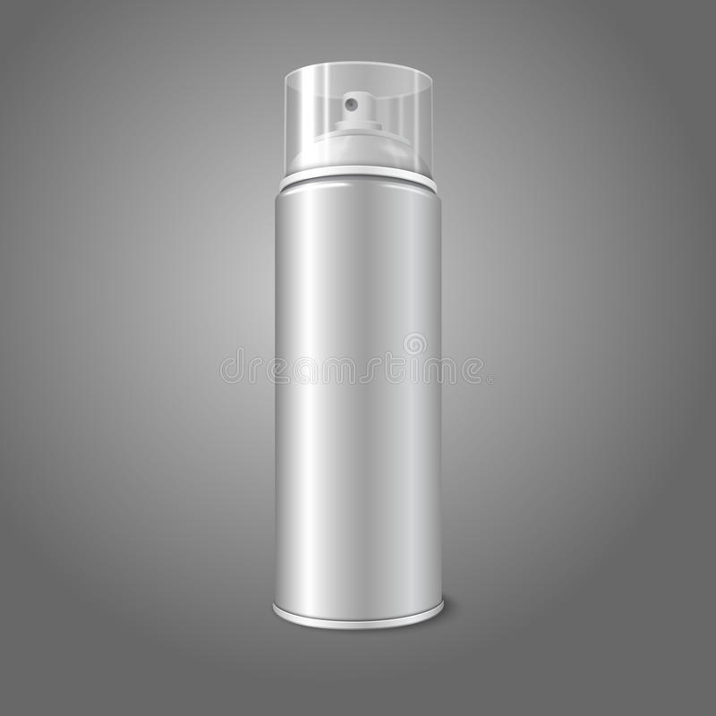 Blank vector aerosol spray metal 3D bottle can stock illustration