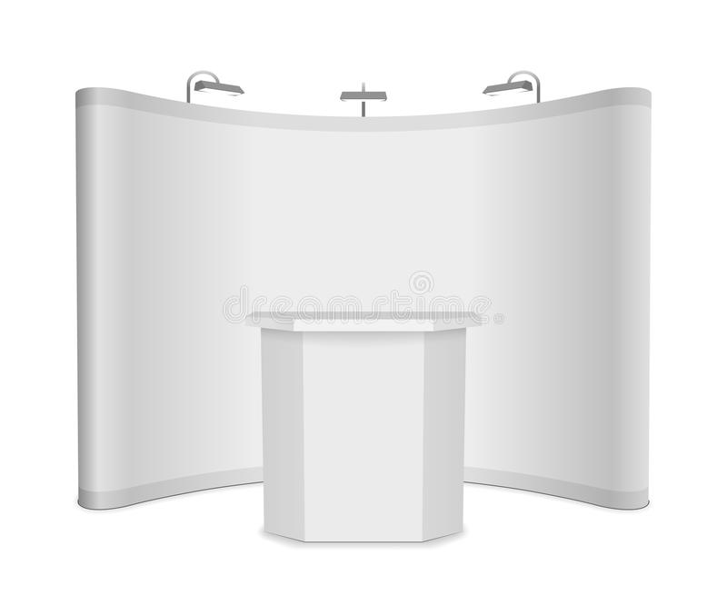 Exhibition Stand Mockup Free Download : Blank vector exhibition stand with banner and table on