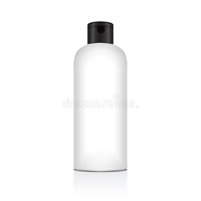 Blank vector plastic bottle for shampoo, lotion, shower gel, body milk, bath foam. Realistic mockup template royalty free illustration
