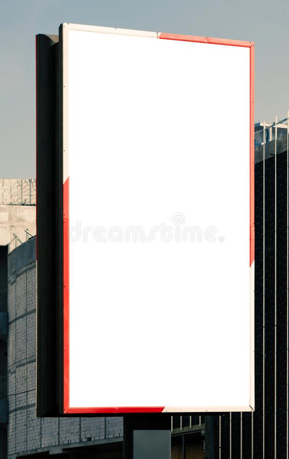 Blank Vertical Billboard Near A Highway  Stock Image - Image