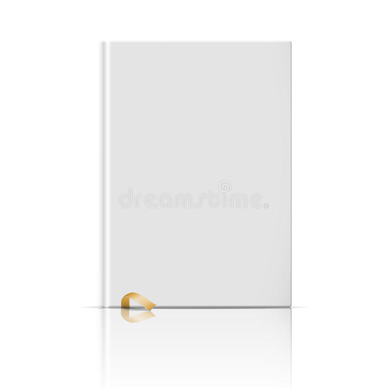 Blank Vertical Book Template With Gold Bookmark. Stock Vector