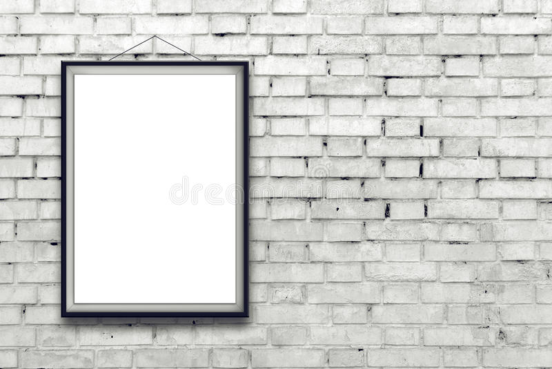 Blank vertical painting poster in black frame stock image