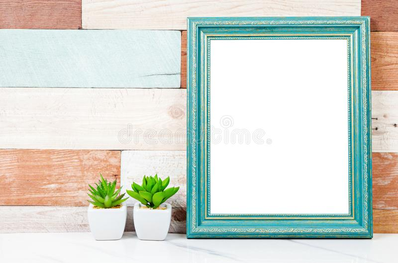 Blank vintage photo frame on wooden wall with cactus plant stock photos