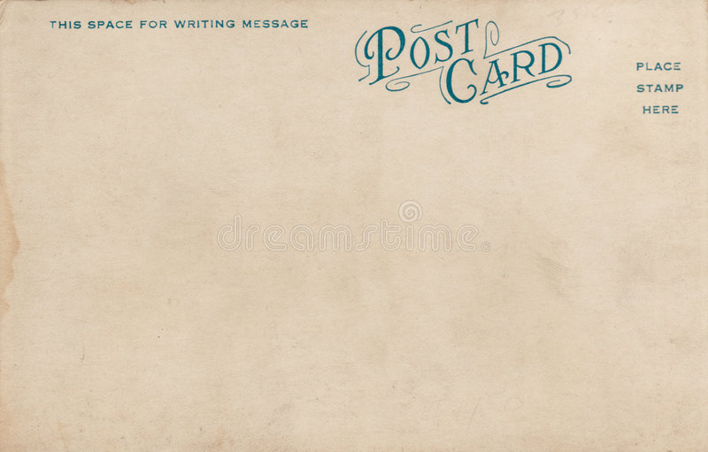 Blank Vintage Postcard 1900's stock photography