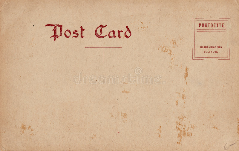 Blank Vintage Postcard 1910's. Blank back of a early 1900's postcard. Sepia tone with maroon text stock photography