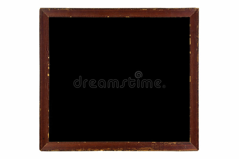Blank vintage wooden picture frame made of wood in brown with bl stock photography