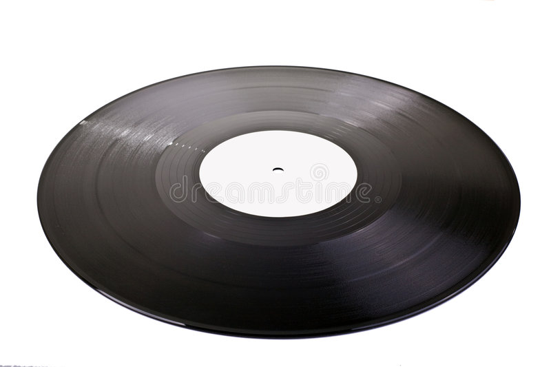 Blank vinyl disc. Old vinyl disc with blank center for editing stock images