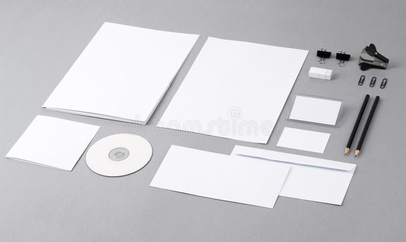 Blank visual identity. Letterhead, business cards, envelopes, folder, CD, pencil, eraser, clip. stock photos