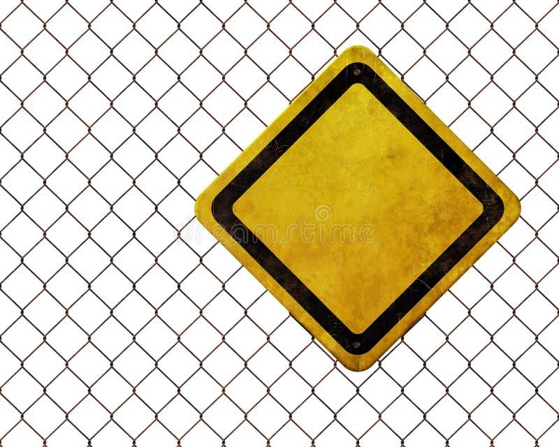 Blank warning sign at rusty fence royalty free illustration