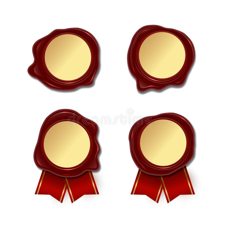 Blank wax seals with golden round center and red ribbon isolated on white background. Vector wax seal set. Blank wax seals with golden round center and red stock illustration