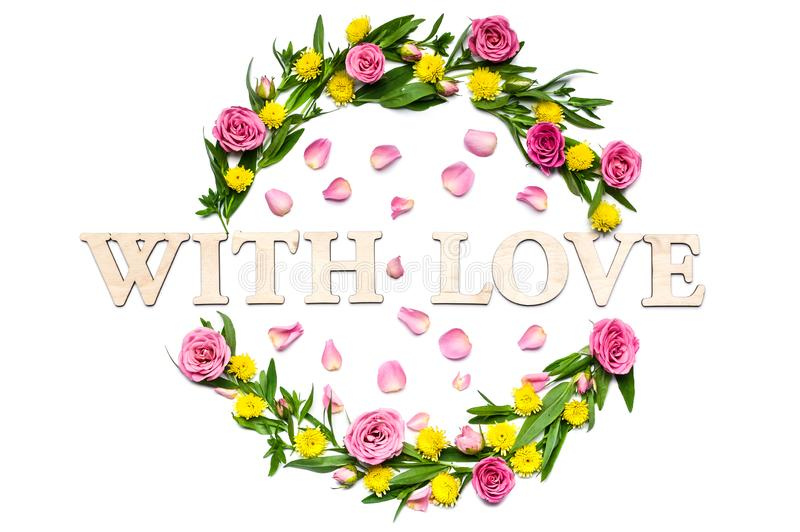 Blank wedding card. Round frame of flowers on a white background. Words: With love stock image