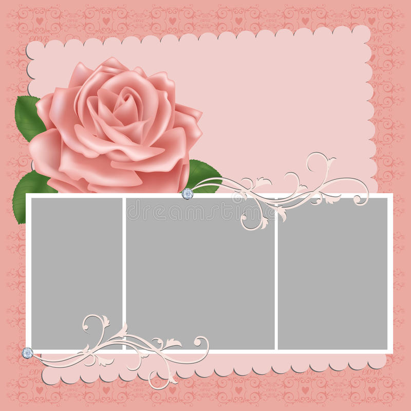 Blank wedding photo frame or postcard