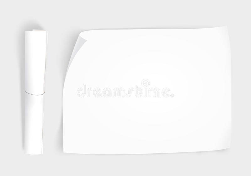 Blank whatman paper mockup with roll, top view isolated royalty free illustration