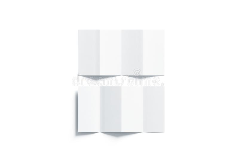 Blank white accordion booklets mockups set, opened top view. 3d rendering. Plain brochures mock ups set isolated. Book cover flier inside, front and back side royalty free illustration