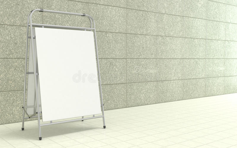 Blank white advertising stand, with copy space board in front of concrete wall. 3D. Illustration isolated on white background stock illustration
