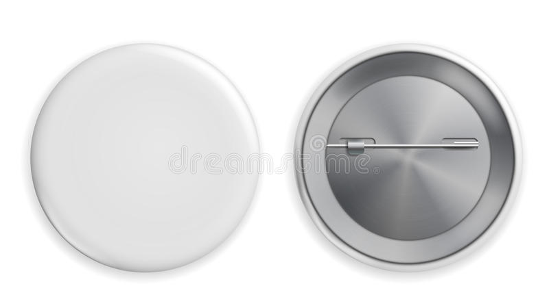 Blank White Badge Vector. Realistic Illustration. Clean Empty Pin Button Mock Up. Isolated. royalty free illustration